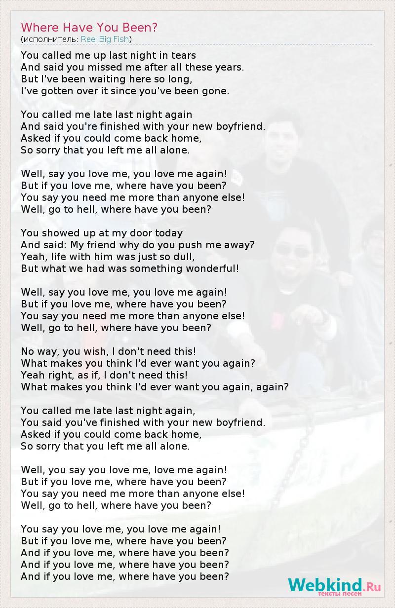 Текст песни Where Have You Been?, слова песни